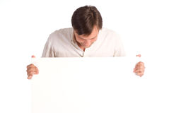 Man with board Stock Photo