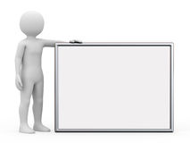The man with board, 3d rendering. The man with board on white background, 3d rendering Stock Photos