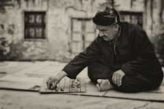 Man, Board Game, Old, Elderly Stock Photography
