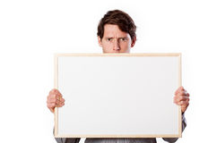 Man with board to your text Stock Images