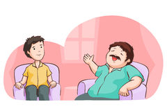 The man boasting in living room. Stock Images