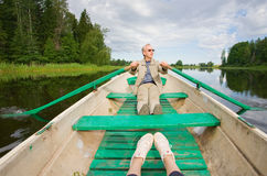 Man in a boat Royalty Free Stock Photography