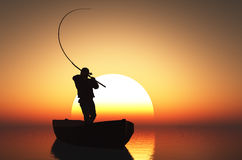 The man in a boat. Fisherman silhouette at sunset Stock Images