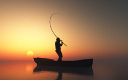 The man in a boat. Fisherman silhouette at sunset Royalty Free Stock Photo