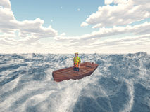 Man in a boat Stock Photography
