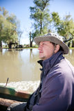Man in a boat in Danube Delta Royalty Free Stock Photos