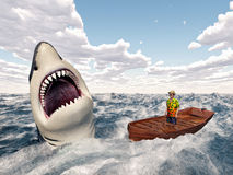 Man in a boat and great white shark Royalty Free Stock Images