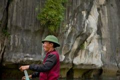 Man on the boat - Ha Long Bay - Vietnam Stock Photos
