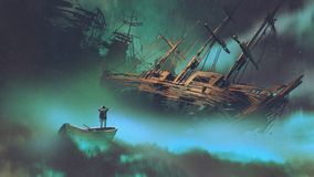 Man on a boat looking at derelict ship. Surreal scenery of the man on a boat in the outer space with clouds looking at derelict ship, digital art style vector illustration