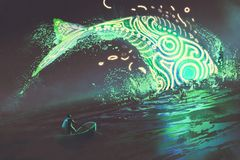 Man on boat looking at the jumping glowing green whale in the sea. Fantasy scenery of man on boat looking at the jumping glowing green whale in the sea, digital Royalty Free Stock Photography
