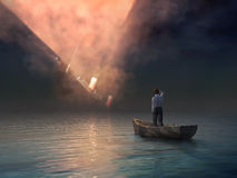 Man in boat looking on shipwreck vector illustration