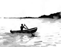 Man in a boat. Man rowing with an oar on the lake. Black and white ink illustration Royalty Free Stock Photo