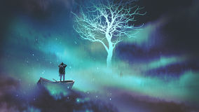 Man on a boat in the outer space with clouds. Looking at glowing tree with stars, digital art style, illustration painting vector illustration