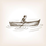 Man in boat sketch style  illustration Stock Images