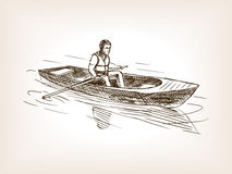 Man in boat sketch style vector illustration Royalty Free Stock Photography