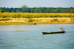 Man Boat Steering Clear River Crocodile Nepal Stock Photo