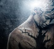 Man with body art. Man with conceptual spiritual body art Stock Photography