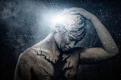 Man with body art. Man with conceptual spiritual body art Stock Images