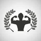 Man body builder sport emblem laurel branch Stock Images