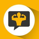 Man body builder sport emblem Stock Photo