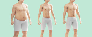 MAn body fat and thin, diet, gym. Man fat and thin, diet vector illustration