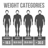 Man body mass index. Man body mass index infographics. Vector illustration royalty free illustration