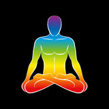 Man Body Soul Rainbow Black. Sitting naked man with a rainbow gradient colored body or soul. Isolated vector illustration on black background Stock Image