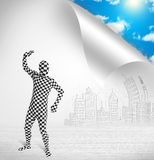 Man in body suit escaping from city to nature concept. Funny man in body suit escaping from city to nature concept Royalty Free Stock Photography