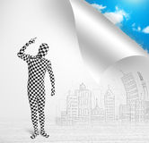 Man in body suit escaping from city to nature concept. Funny man in body suit escaping from city to nature concept Royalty Free Stock Photo