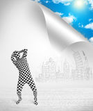 Man in body suit escaping from city to nature concept Royalty Free Stock Photography