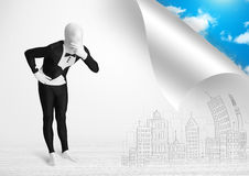 Man in body suit escaping from city to nature concept Royalty Free Stock Photo