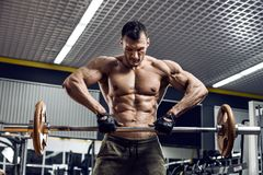 Man bodybuilder in gym Royalty Free Stock Photos