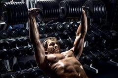 Man bodybuilder in gym Stock Images