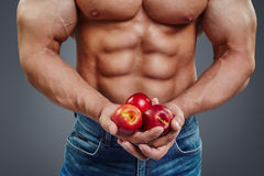 Man bodybuilder hands holding a fresh peaches. Close up of healthy, strong man bodybuilder hands holding a fresh juicy fruits. Muscular guy holding peaches Royalty Free Stock Photo