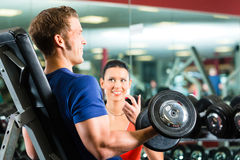 Personal Trainer in gym and dumbbell training Stock Photos