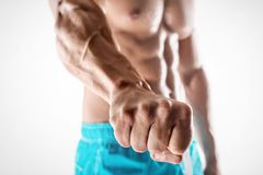 Man bodybuilder showing fist Stock Photography