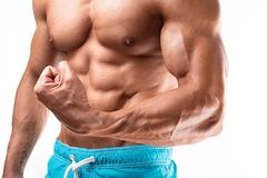 Man bodybuilder showing muscular body royalty free stock photography
