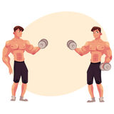 Man bodybuilder, two variants of bicep workout, dumbbell arm training Stock Image
