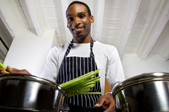 Man Boiling Vegetables Royalty Free Stock Image