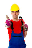 Man with bolt cropper on his shoulder and thumb up Royalty Free Stock Photography