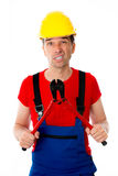 Man with bolt cropper. Wild worker with bolt cropper Royalty Free Stock Photography