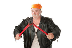 Man with bolt cutter. Fat hoodlum holding open large bolt cutters Royalty Free Stock Photos