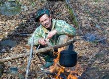 Man at Bonfire 4 Royalty Free Stock Images