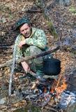 Man at Bonfire 9 Royalty Free Stock Photography
