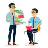 Man In Book Club Vector. Carrying Large Stack Of Books. Studying Student. Library, Academic, School, University Concept. Flat Cartoon Illustration Stock Photo