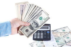 The man the bookkeeper counts money Stock Photography