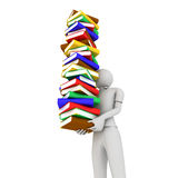 Man with Books. 3D image of man with books on white background Royalty Free Stock Images
