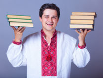 Man with books. Royalty Free Stock Photo