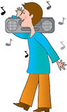Man Boom Box Stock Photography