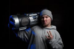 Man with boombox Stock Photography